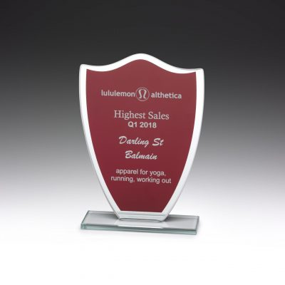 Budget glass shield award in red