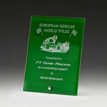 Laser engravable glass plaque award in green