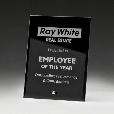 Laser engravable glass plaque award in black
